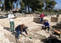 Conservation team documenting the tile floor in the Frankish Area.